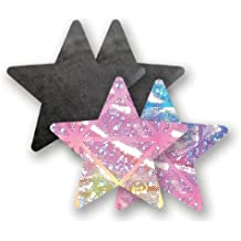 Nippies Black Tie Dye Star Waterproof Adhesive Fabric Nipple Cover Pasties Size B