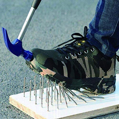 Niome Steel Toe Shoes Indestructible Puncture-Proof Protection with Lace-up Camouflage for Welding Insulation Construction Work Men Women Black & 47 by Niome (Image #5)