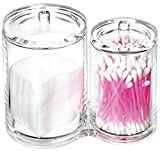 Estilo Large Capacity 2 Compartment Premium Quality Acrylic Cotton Ball and Swab Holder