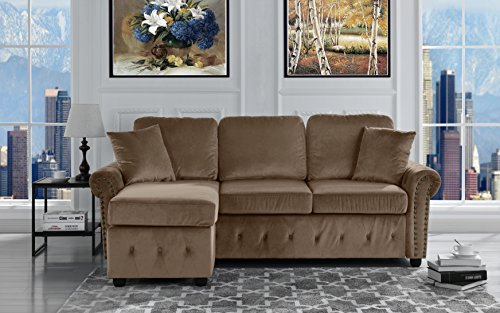 Classic Small Space Tufted Brush Microfiber Sectional Sofa With Chaise, L  Shape Couch (Hazelnut). By Furniture Mania