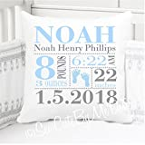 Sew Cute by Me Designs Original Birth Announcement Pillow for Baby Boys Nursery - Footprints - Includes Personalized Pillowcase and Pillow Insert 14x14 or 16x16