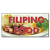 Filipino Food Restaurant Café Bar DECAL STICKER Retail Store Sign 14.5 x 36 inches