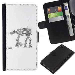 LECELL--Cuero de la tarjeta la carpeta del tirón Smartphone Slots Protección Holder For Sony Xperia Z2 D6502 -- AT AT Walker --