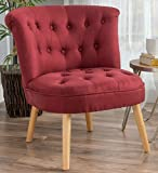 Armless Accent Chair Fabric Red Modern Wood Legs