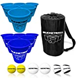 BucketBall - Team Color Edition - Combo Pack (Light Blue/Navy Blue): Original Yard Pong Game: Best Camping, Beach, Lawn, Outdoor, Family, Adult, Tailgate Game