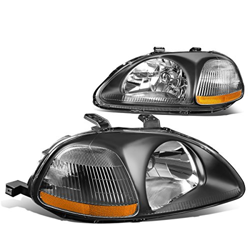 DNA MOTORING HL-OH-HC96-BK-AM Headlight Assembly, Driver and Passenger Side, Black Housing Amber Reflector Civic Projector Headlights Black Housing