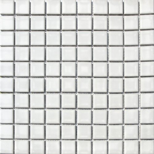 - Vogue Square Tile White Porcelain Mosaic Shiny Look Designed in Italy (Box of 5 sq. ft.)