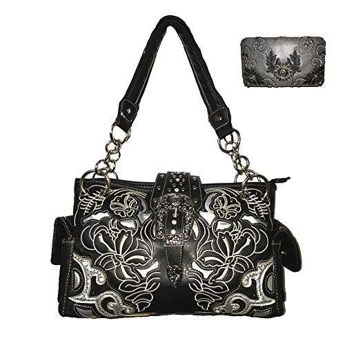 New Western Rhinestone Concho (New Style Rhinestone Buckle Concho Concealed Carry Embroidered Leather Shoulder Handbag Purse,matching Wallet Set with Texas West Collection Coin in 2 Colors)