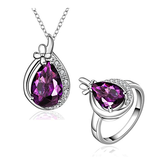 Amethyst Jewelry Sets Crystal Teardrop Pendant Necklace & Stud Earrings & Band Rings CZ Edge For Love (Blues Clues Couple Costume)