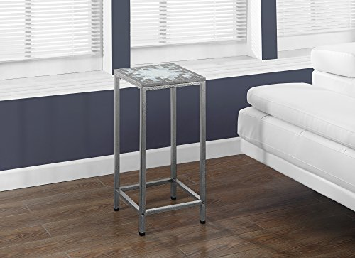 Monarch Specialties Grey/Blue Tile Top/Hammered Silver Plant Stand,