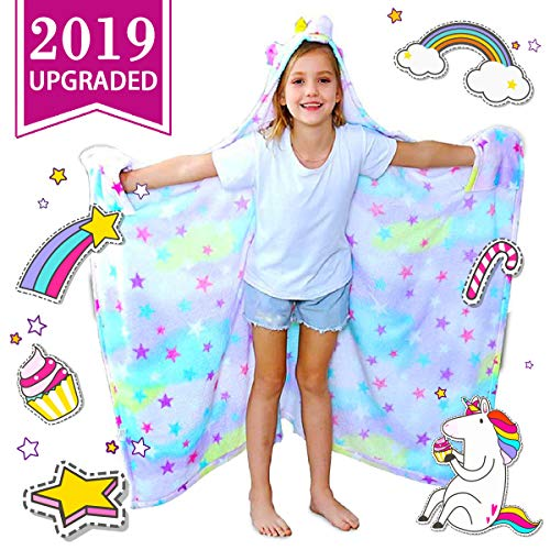 CozyBomB Rainbow Unicorn Blanket for Girls - Wearable Fleece Soft Throw Blanket for Kids Girl - Cute Hooded Plush Bathrobe Cozy Wrap with Hood Sleep Pretend Play age 3 4 5 6 Year Old Christmas Costume