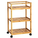 #9: SONGMICS Bamboo Wood Storage Cart Rack with 3 Shelves and Locking Wheels Serving Trolley Organizer Stand in Kitchen Bathroom Dorm UBCB63N