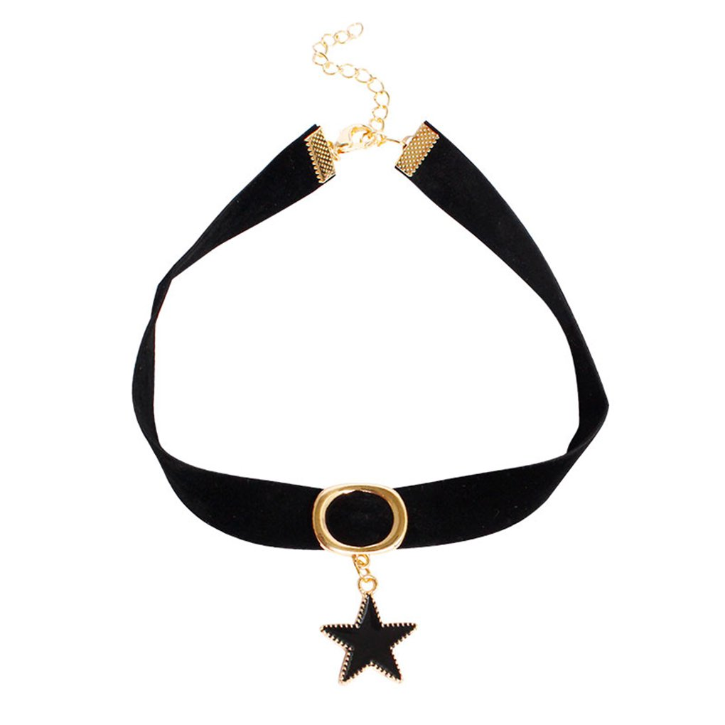 Five pointed Star Pendants Necklaces Women Punk Velvet Chokers Neck Jewelry Necklace by M-Egal