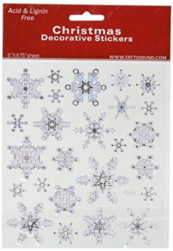 Multi-Colored Stickers-Silver & White Snowflakes