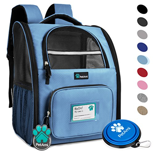 PetAmi Deluxe Pet Carrier Backpack for Small Cats and Dogs, Puppies by Ventilated Design, Two-Sided Entry, Safety Features and Cushion Back Support | For Travel, Hiking, Outdoor Use (Light Blue)