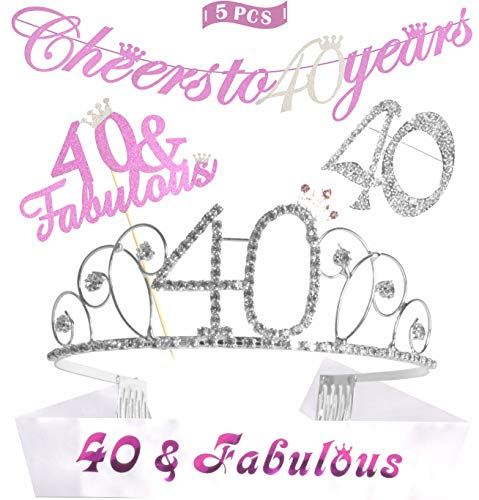 40th Birthday Decorations Party Supplies | Silver 40th Birthday Tiara | 40th White Satin Sash 40 & Fabulous | Silver Glittery Cheers to 40 Years Banner |40 and Fabulous Cake Topper | 40 Silver Rhines -