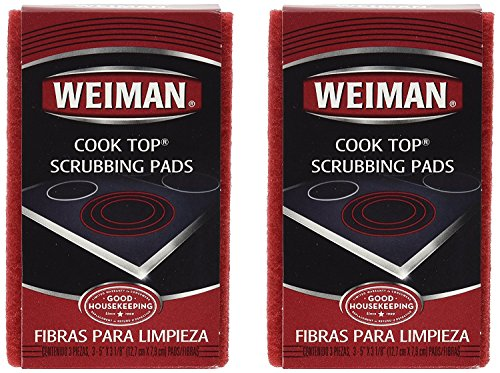 Glitzy Glass (Weiman Cook Top Scrubbing Pads, 3 Count, 2 Pack Cuts Through the Toughest Stains - Scrubbing Pads Carefully Wipe Away Residue)