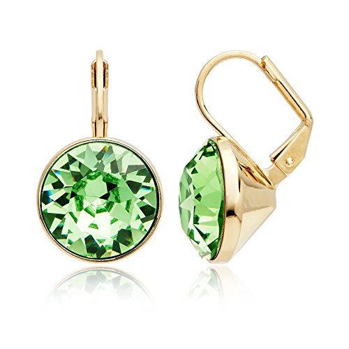 Bella Earrings with 8.5 Carat Peridot Swarovski Crystals Gold Plated ()