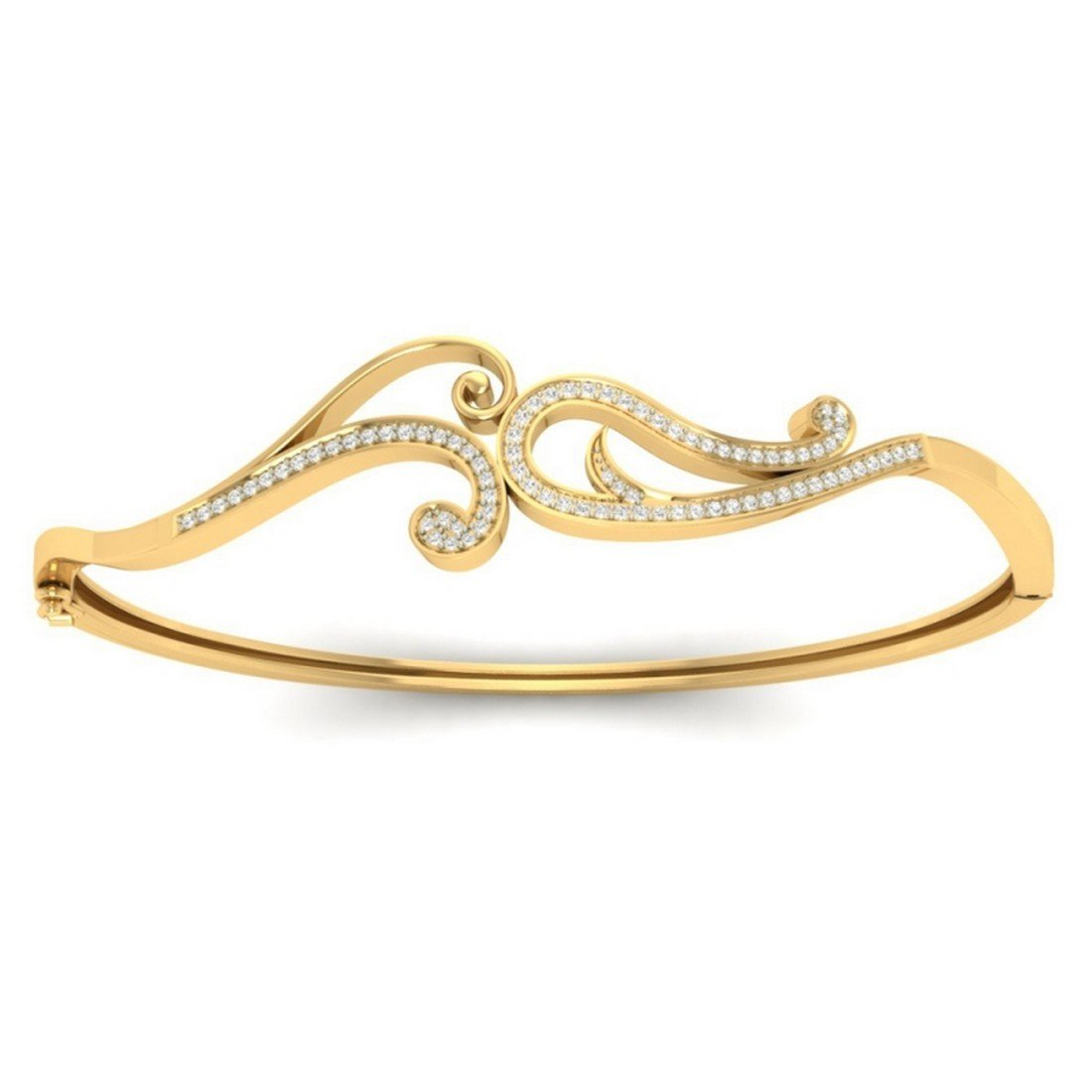bangle-bracelets Size HallMarked 7.5 inches 0.29 cttw Round-Cut-Diamond 14K Yellow Gold IJ| SI