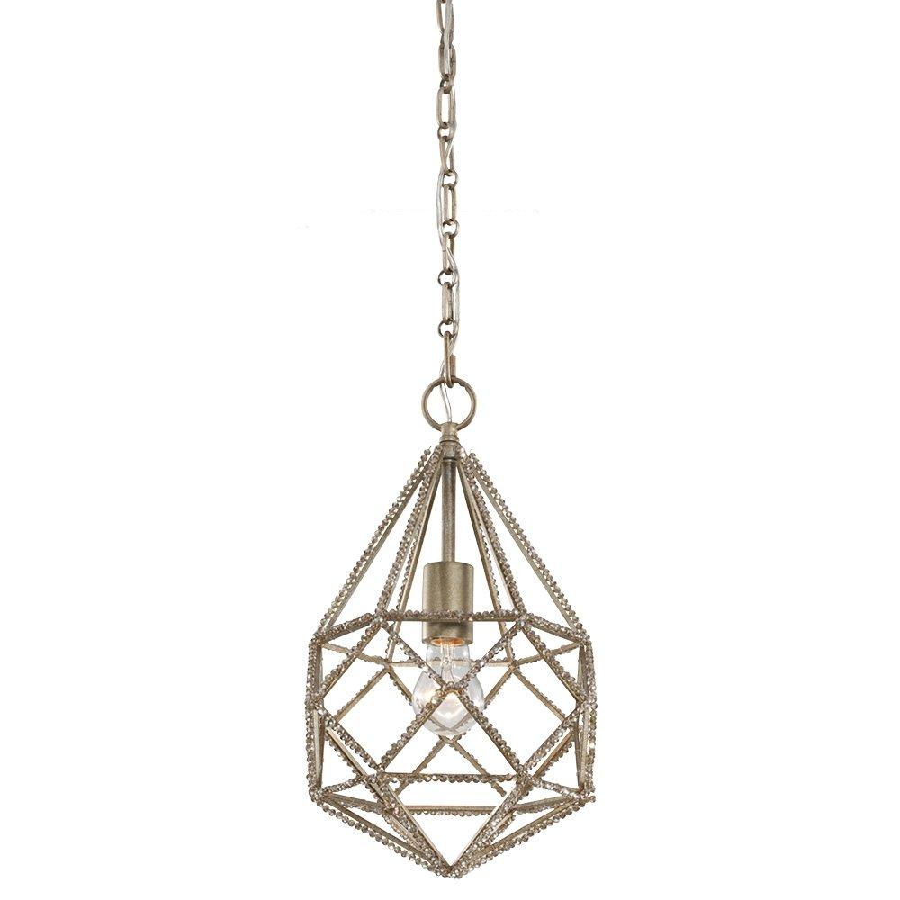 10Dia x 16H 1-Light 75watts Feiss P1313SLV Marquise Crystal Diamond Mini Pendant Lighting 10Dia x 16H Silver 75watts 1-Light