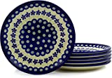 Polish Pottery Set of 6 Plates 7-inch Flowering Peacock