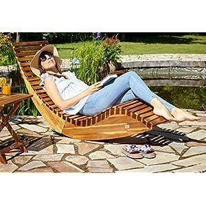 Deuba Sun Lounger Wooden Ergonomic FSC®-Certified Acacia Wood Rocking Deck Chair Recliner Garden Patio Pool Sauna