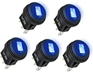 Linkstyle 5PCS Rocker Round Toggle, 12V 20A 3 Pins Blue Toggle LED Switch, On-Off Control Waterproof Button Ro