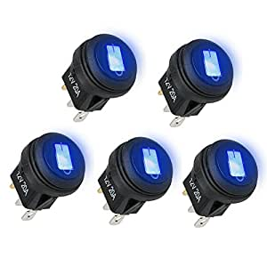LinkStyle Car Truck RV Rocker Round Toggle LED Switch On-Off Control, 5PCS WATERPROOF Blue LED On/Off Boat Marine Rocker Switch 12V 20 Amp 3 Pins