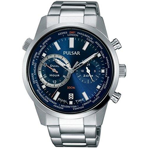 Pulsar PY7003X1 Reloj para hombre con correa de acero inoxidable y cronógrafo, color azul: Amazon.es: Relojes