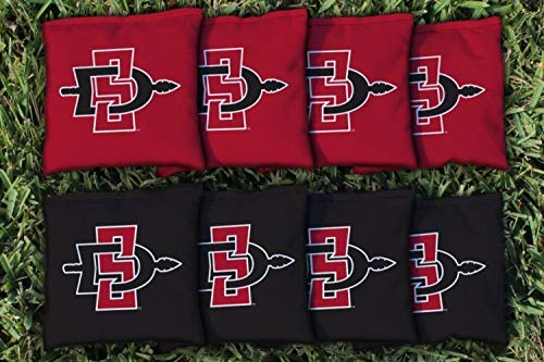 Victory Tailgate NCAA Collegiate Regulation Cornhole Game Bag Set (8 Bags Included, Corn-Filled) - San Diego State Aztecs