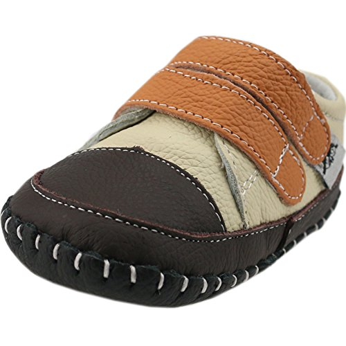 Orgrimmar Baby Boys Girls First Walkers Soft Sole Leather Baby Shoes (Size M,Beige and Orange)