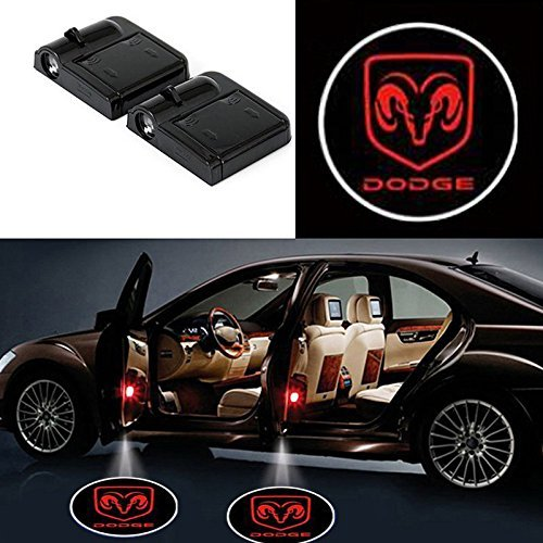 Bearfire 2 Pcs Wireless Car Door Led Welcome Laser Projector Logo Light Ghost Shadow Light Lamp Logos for Dodge Accessories