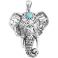 Vintage Retro Silver Elephant Charm Pendant Turquoise Chain Choker Necklace Gift