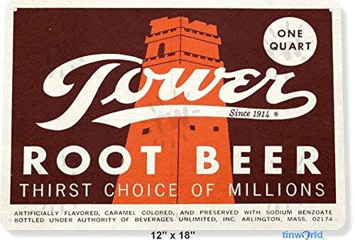 (TIN Sign Tower Root Beer Soda Cola Kitchen Cottage Bar Retro Label Metal Decorl B692 Tin Sign)