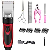 SIYUE Professional Pet Grooming Clippers Low Noise Animal Deluxe U-Clip Trimmer Cordless Rechargeable Pet Grooming Cutter for Dogs Cats and Pets Hair Fur Clipper Set (Red)