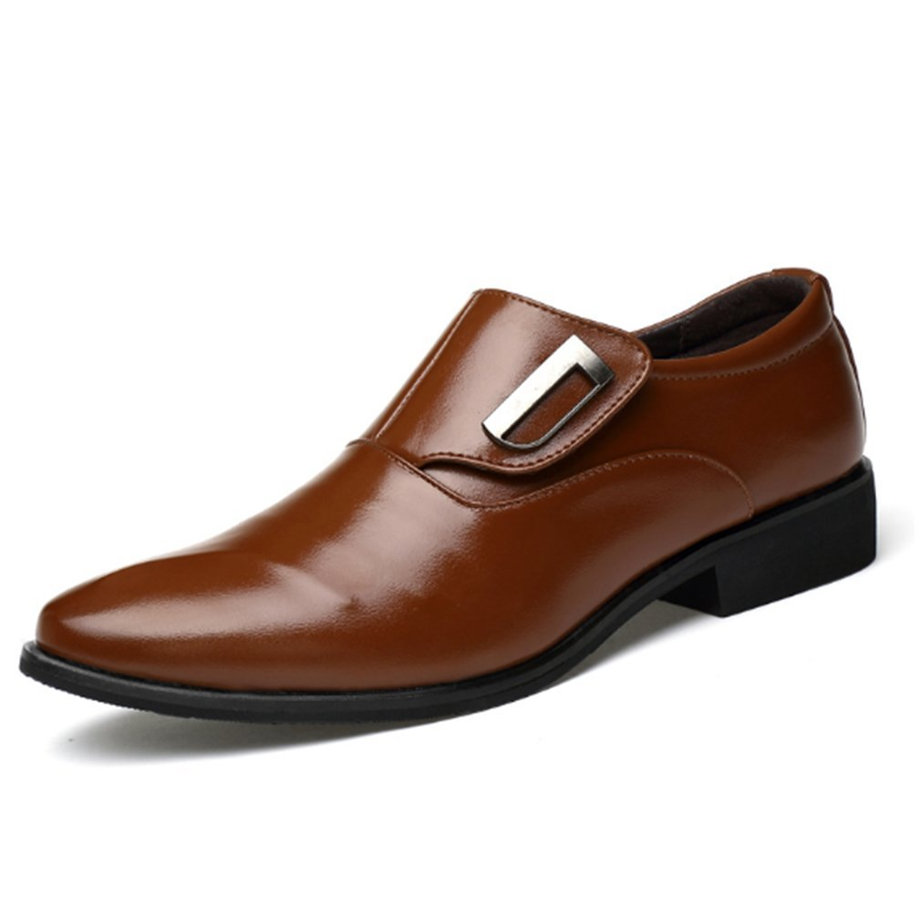 Seakee Men's Business Slip-on Dress Shoes Semi-Formal Oxford(Brown) US 10