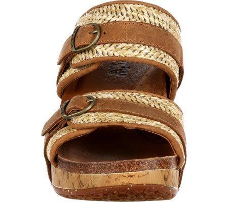 4eursole Mujeres Splendor Wedge Slide Tan / Natural Hemp / Leather