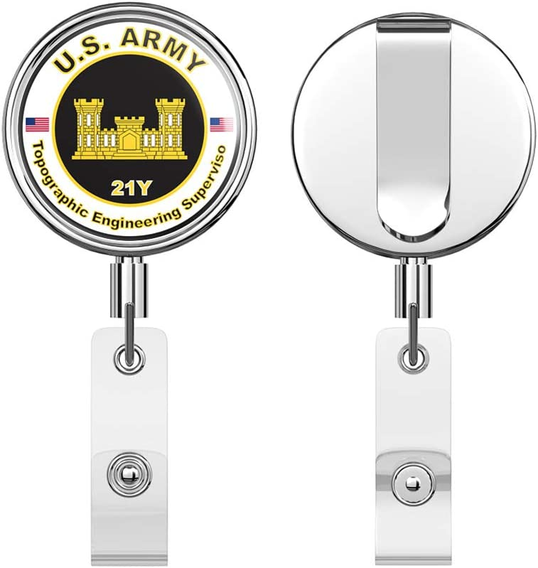 Army MOS 21Y Topographic Engineering Supervisor Round ID Badge Key Card Tag Holder Badge Retractable Reel Badge Holder with Belt Clip U.S