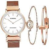 Ladies Quartz Stainless Steel Watch Set-MAMONA Rose Gold Women Watch Bracelet Set 3881LRGT