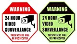 WISLIFE Video Surveillance Sign - ONE Piece, Glow in the Dark Security Surveillance Sign, No Trespassing Signs 12'' X 12'' (ONLY 1, Day & Night as Picture)