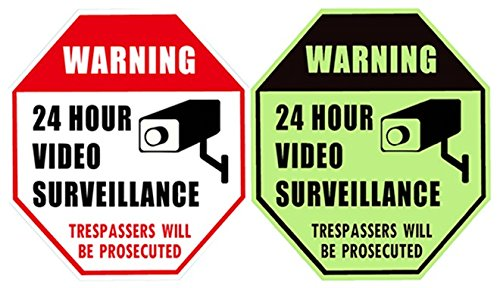"WISLIFE 24 Hour Video Surveillance Sign - This Area Under Video Surveillance Sign, ONE Piece, Glow in The Dark No Trespassing Video Surveillance Sign, 12"" X 12"" (ONLY 1, Day & Night as Picture)"