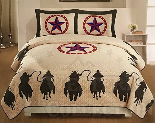 Texas Rustic Brown Rodeo Cowboy Western Star Quilt Bedspread Comforter-3pc Set