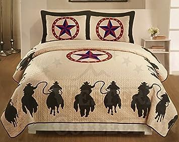 Western Peak 3 Piece Horse Rider Cabin / Lodge Quilt Bedspread Coverlet Set  Brown (