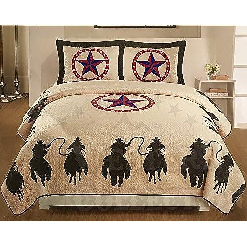 Western Peak 3 Piece Horse Rider Cabin / Lodge Quilt Bedspread Coverlet Set  Brown (Queen)