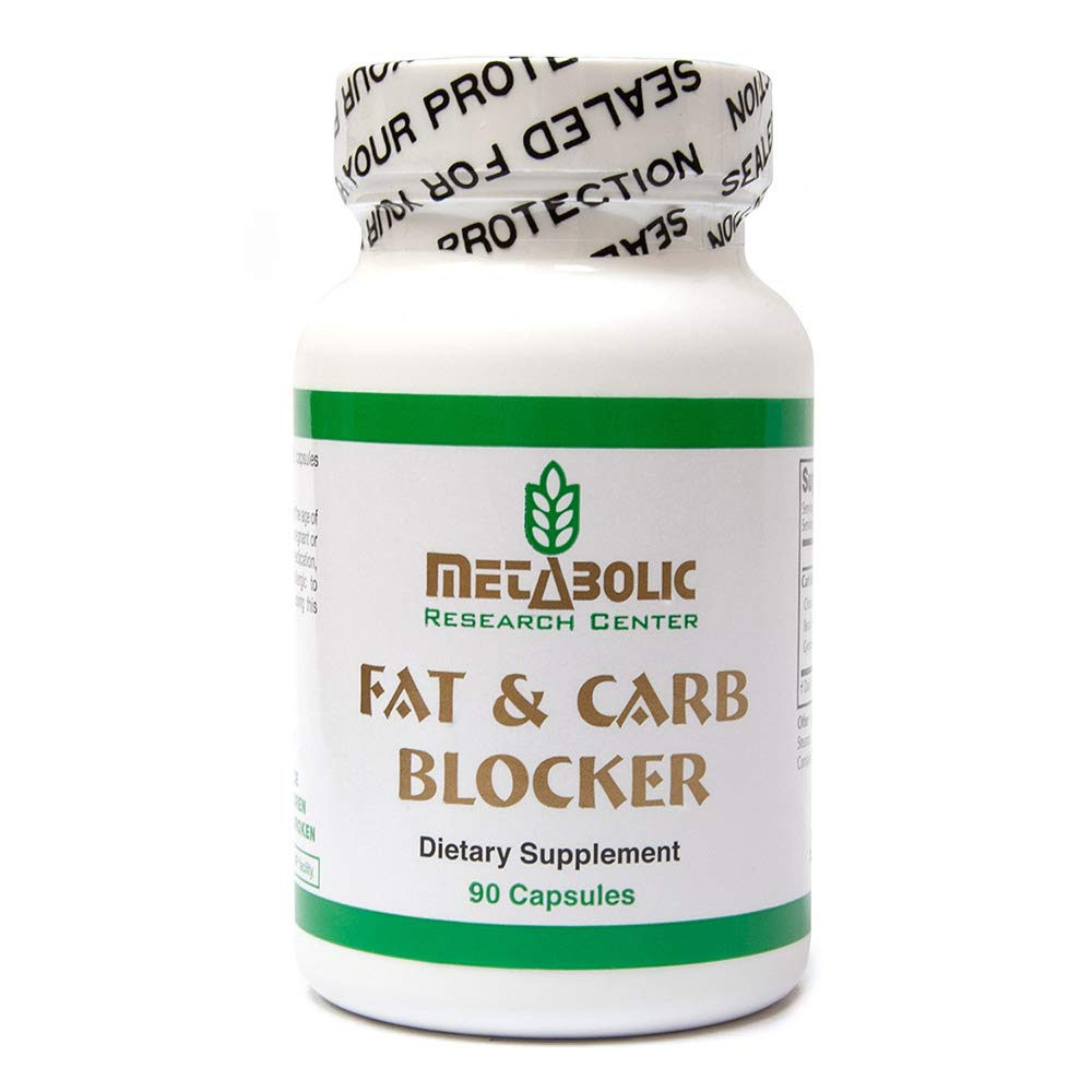 Fat and Carb Blocker, Blocks Absorption of Fat, Prevent Uptake of Sugars, Increase Metabolism, by Metabolic Research Center, 90 Vegetarian Capsules by Metabolic Research Center