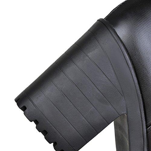 Enmayer Kvinners Lukket Rund Tå Firkantet Hæl Pu Mykt Materiale Støvler Med Beltespenne Og Plattformen Svart