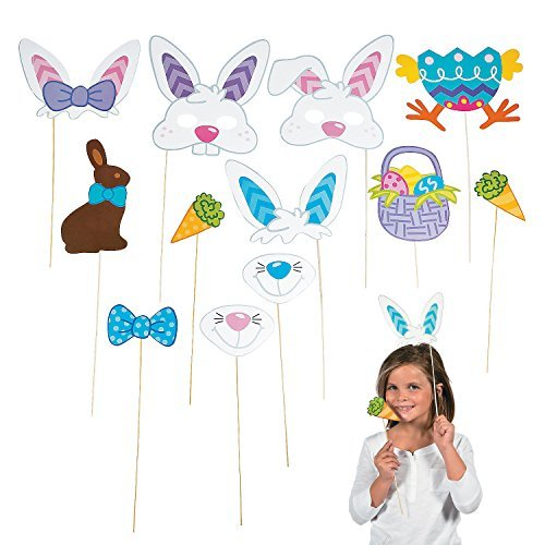 Easter Photo Booth Egg Hunt Party Stick Props - includes Bunny Rabbit Ears Carrot Basket and More - 12 - Party A Booth Photo A Creating For