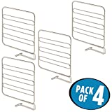 mDesign Versatile Metal Closet Shelf Divider and Separator for Storage and Organization in Bedroom, Bathroom, Kitchen and Office Shelves - Easy Install, Sturdy Wire Construction - Pack of 4, Satin