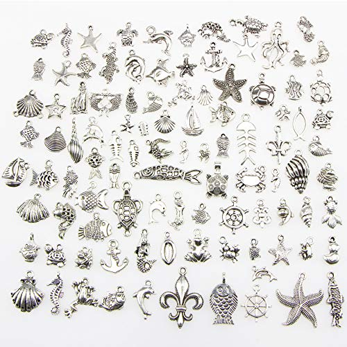 Necklace Holiday Charm - 100 pcs Mix Wholesale Antique Silver Halobios Pendant Charms Tortoise Hippocampi Shell Conch Dolphin Mermaid Charms Pendants for Crafting, Jewelry Findings Making Accessory for DIY Necklace Bracelet