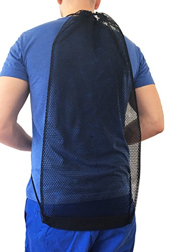 AxiCore Snorkeling, Scuba Diving, Swimming Mesh Bag. Swim Fin Mesh Gear Bag. Double Shoulder Strap so can be carried as backpack or slingpack. Durable Large Mesh Fin Bag. by AxiCore (Image #4)